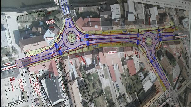 Výstavba dvojice okružních křižovatek na silnicích I/55 a I/54 ve Veselí nad Moravou.