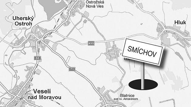 Pravděpodobná lokalizace zaniklé osady Smíchov