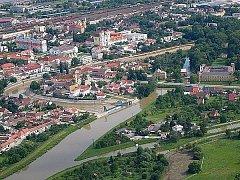 Letecký pohled na Veselí nad Moravou - ilustrační fotografie.