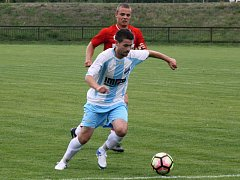 Fotbalisté Veselí nad Moravou v krajském přeboru podruhé v řadě prohráli 0:2. Na snímku je záložník Aleš Radmil.