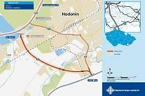 Trasa plánovaného západního obchvatu Hodonína.