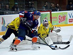 Šumperští Draci (žluté dresy) prohráli domácí zápas s Drtiči z Hodonína.