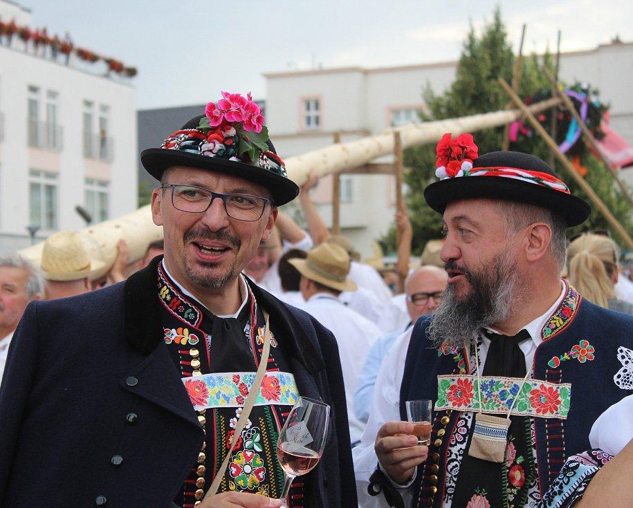 Starosta Kyjova František Lukl na pátečním stavění máje.
