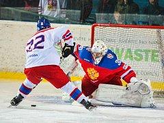 Kapitán českého výběru David Kaše otevřel proměněným trestným střílením skóre pátečního duelu s Ruskem, který domácí tým ovládl 4:3 po samostatných nájezdech.