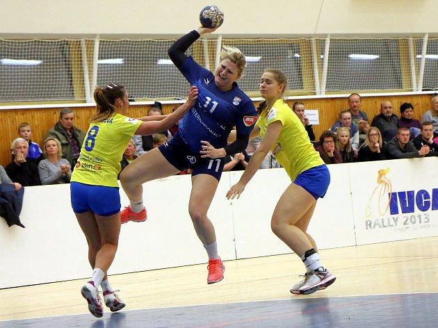 V derby proti Zlínu se dařilo Kateřině Slovákové, která si po dlouhé době připsala čtyři zásahy. Foto: Hynek Zdeněk