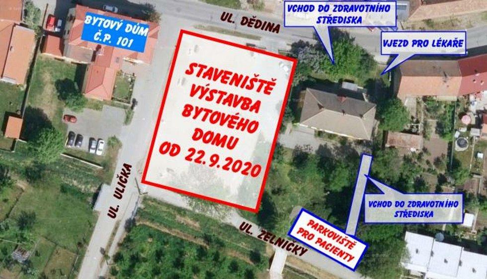 Lokalita v Ratíškovicích, kde vyroste nový bytový dům.