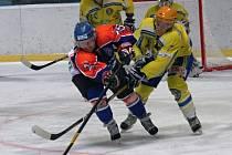 Proti břeclavským Lvům se nedokázal gólově prosadit ani útočník Roman Vondráček, který bojuje o puk s hráčem soupeře.