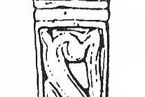Zlomek bronzového litého nákončí s motivem čtyřnožce z Mikulčic.