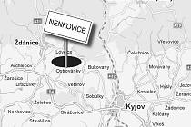 Zaniklá vesnice Nenkovice.