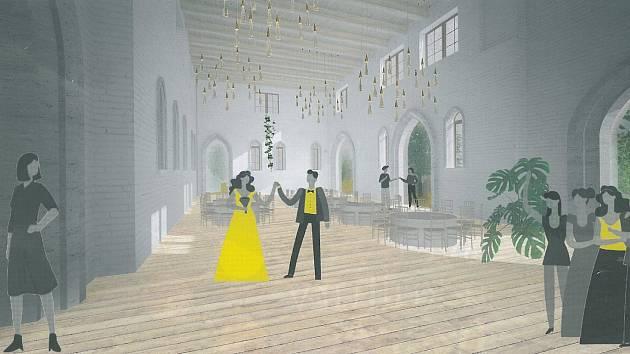 Vizualizace multifunkčního sálu zámku ve Bzenci. Zdroj: Zámecké vinařství Bzenec