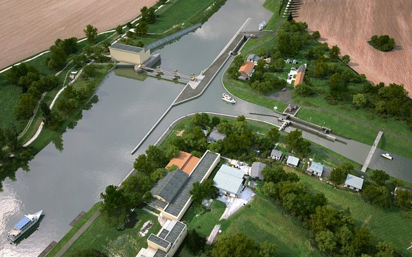 Vizualizace nové plavební komory vHodoníně isturistickým přístavem.