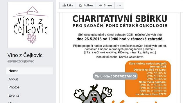 Printscreen facebookové stránky Víno z Čejkovic, kde se lidé mohou zapojit do lajkování a pomoci nemocným dětem.