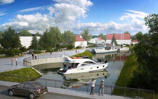 Vizualizace nového přístaviště iobratiště vHodoníně.