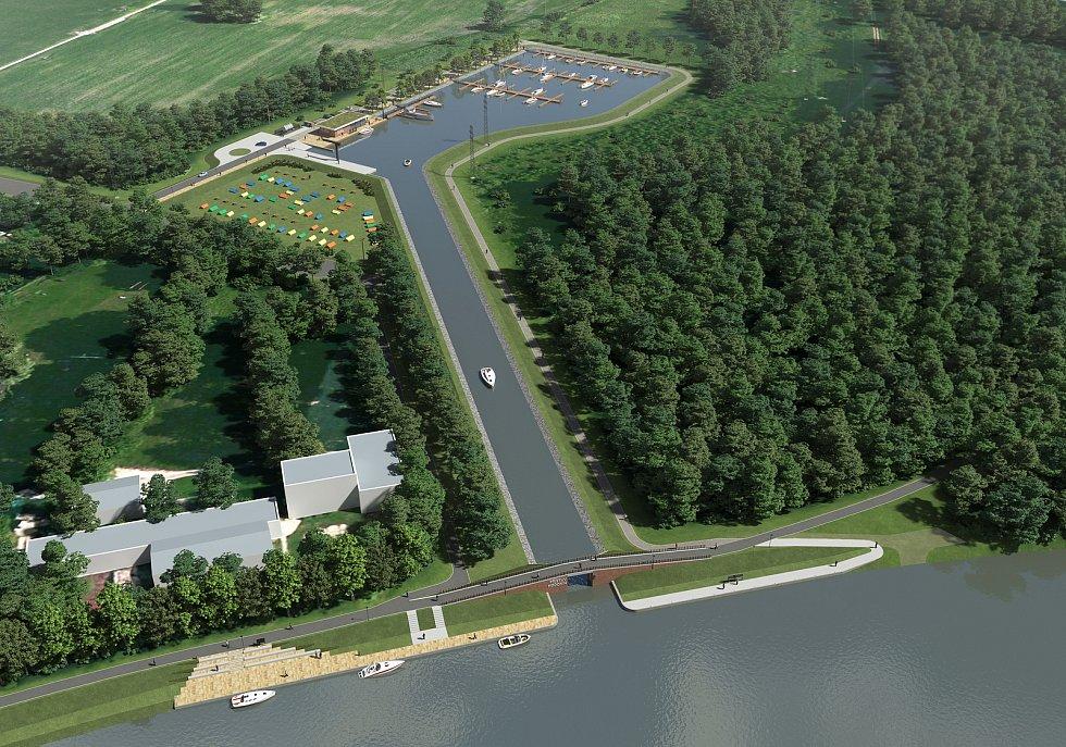 Vizualizace nového přístavu v Hodoníně napojeného přímo na řeku Moravu. V levém rohu nová cesta Očovskými loukami. Zdroj: ŘVC ČR