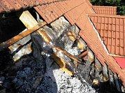 Požár střechy v Radějově.