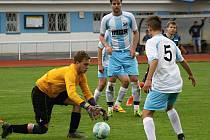 Mladý veselský brankář Roman Grombíř (na snímku) inkasoval v derby tři branky, přesto hosté v Kyjově zvítězili 5:3.