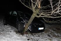 Kvůli námraze skončila žena s autem ve stromě.