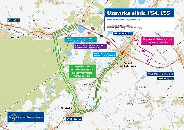 Dva nové kruhové objezdy vzniknou ve Veselí nad Moravou. Řidiči budou místo po dobu prací objíždět.