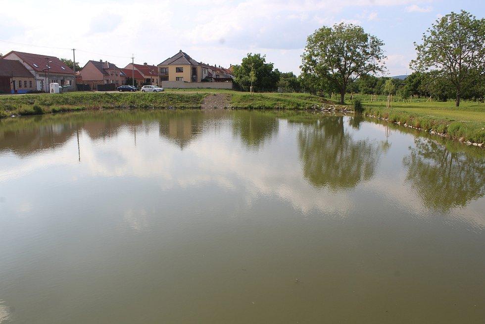Rybníček v Mistříně v ulice Na Dolině.