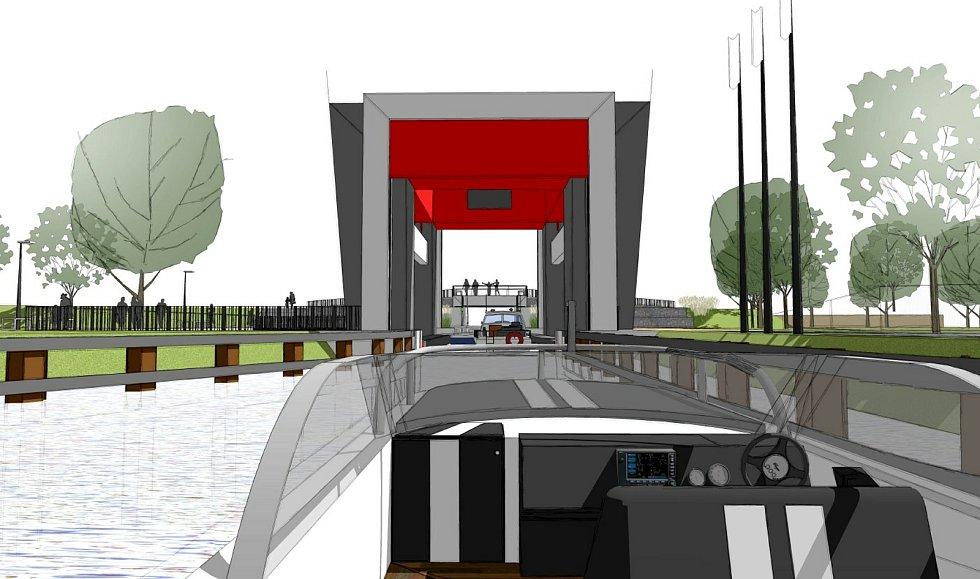 První lodní zdvihadlo v České republice by mohlo stát pod zámeckým parkem ve Veselí nad Moravou.
