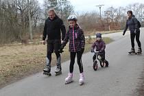 Oblíbená cyklotrasa mezi Ratíškovicemi a Vacenovicemi za chladného odpoledne poslední únorovou sobotu.