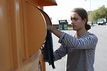 Nový kontejner na textil v hodonínském sběrném dvoře.