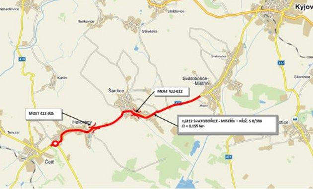 Plán oprav silnice II/422 mezi Čejčí a Mistřínem.