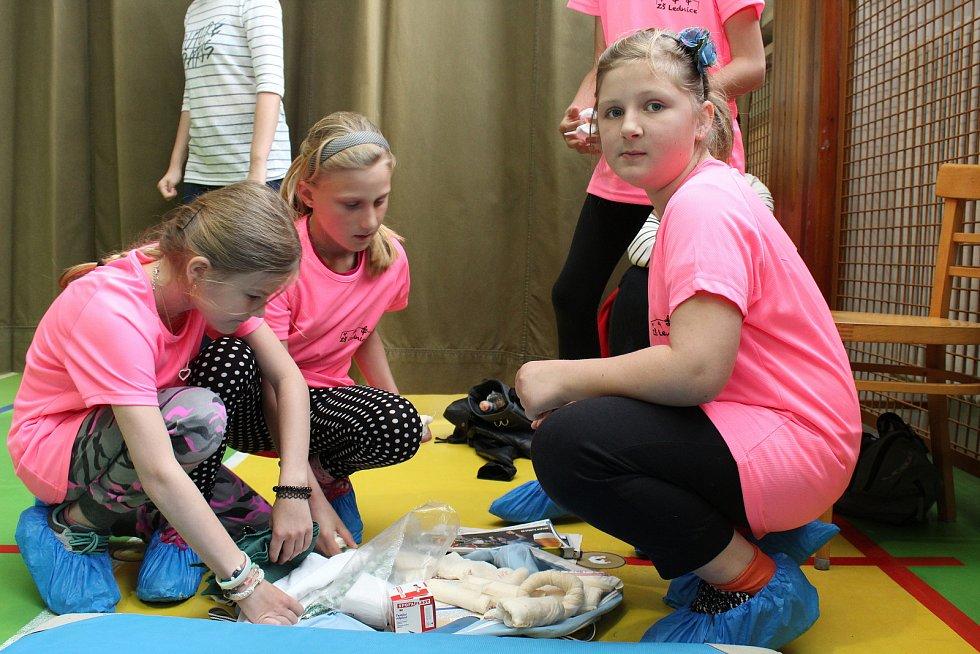 Děti ze základních škol Hodonínska a Břeclavska si ve čtvrtek vyzkoušely, jak zvládají první pomoc a ošetřování běžných poranění. Účastníci Okresní soutěže hlídek mladých zdravotníků rozdělení do týmů postupovali po jednotlivých stanovištích, kde plnili ú