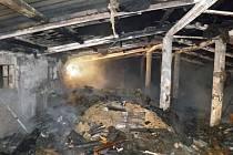 Dnes v noci krátce po jedné hodině propukl v Těmicích požár. V plamenech skončila hala o rozměrech patnáct krát dvacet metrů.