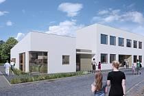 Vizualizace nové přístavby kulturního domu v Lovčicích.