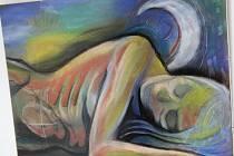 Umělci ze skupiny In-Fúze vystavují v Galerii Vednevnoci své obrazy, které malovali společně.