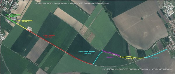 Situační přehled trasy plánované cyklostezky.