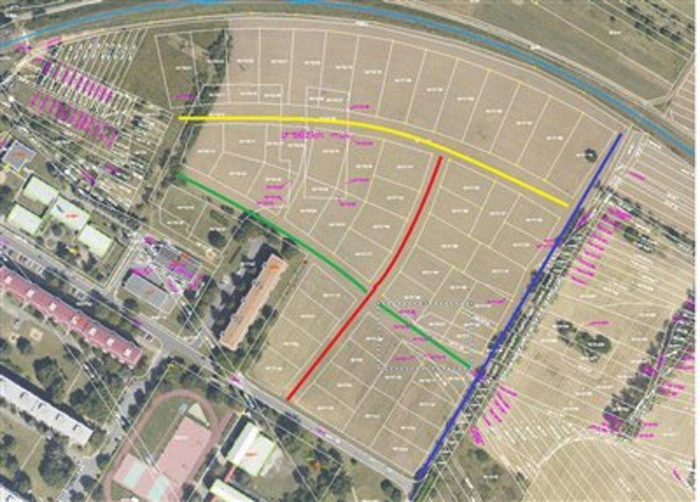 Plán nových ulic ve Veselí nad Moravou v lokalitě Hutník.