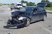 Nehoda dvou aut na Ratíškovické křižovatce poblíž Hodonína 15. 7. 2020.
