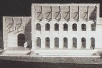 Rekonstrukce vnitřní podoby trojlodní baziliky v Mikulčicích.