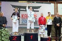 Hodonínská karatistka Michaela Schmiedová získala díky vyhranému finále kata starších žákyň ve věku dvanácti a třinácti let na mistrovství ČR 2014 zlatou medaili.