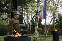 Pietní akt na hodonínském městském hřbitově u příležitosti jednasedmdesáti let od osvobození města Rudou armádou.