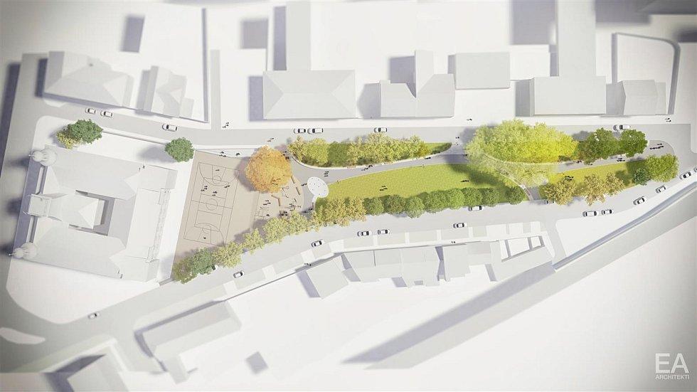 Přímo v centru Hodonína vyroste do dvou let kulturní zelený park.