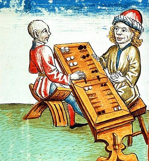 Hráči vrhcábů, jak jsou vyobrazení v rukopise z roku 1479, Kostnice (Německo).