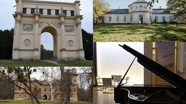 Památky na jihu Moravy slaví svůj den. Vlevo nahoře Rendez-vous nebo Dianin chrám, vedle letohrádek Belveder. Vlevo dole Janův hrad a vedle vila Tugendhat.
