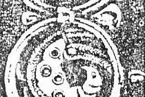 Rozložení ptačího motivu na gombíku z Mikulčic.