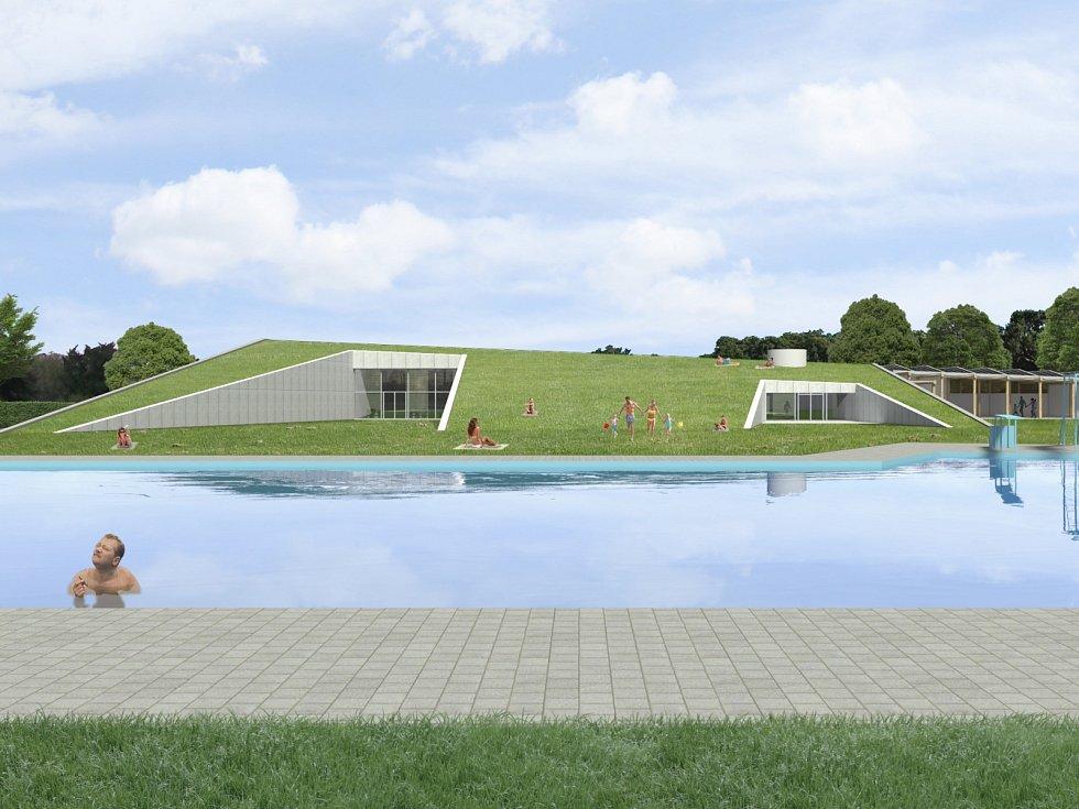 Druhá vyrianta počítá s využitím současného kyjovského koupaliště, které by doznalo komplexní rekonstrukce.