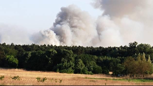Z lesa u Bzence stoupá hustý dým. Snímek je pořízený z bzenecké části Bzinek.