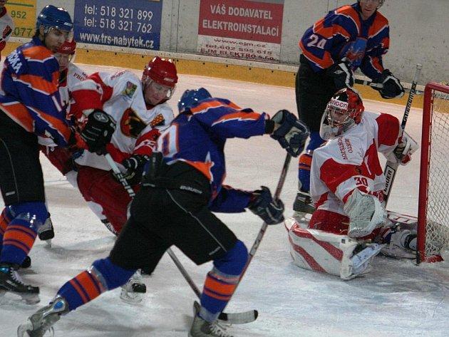 2. liga, východ: SHK Hodonín (v modrém) vs. Jestřábi Prostějov