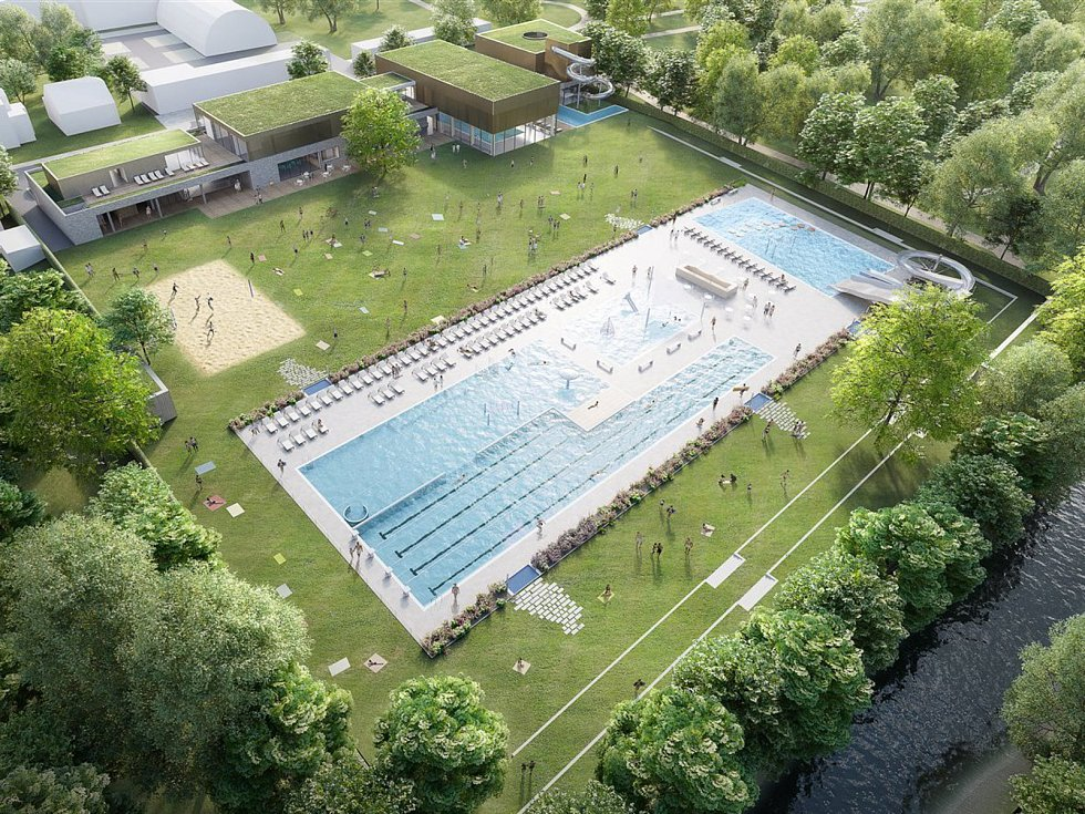 Návrh modernizovaného letního koupaliště v Kyjově.