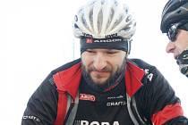 Známý český cyklista Jan Bárta se na na konci roku 2015 v Kyjově zúčastnil tradiční silvestrovské vyjížďky.