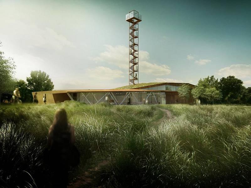Věž je součásí Slovanského hradiště v Mikulčicích podle vybrané architektonické studie.