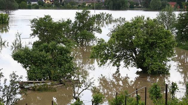 Zahrady a pozemky obyvatel jsou pod vodou.