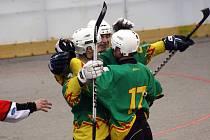 Hokejbalisté Sudoměřic se radují, po dvou výhrách jsou blízko postupu do finále národní ligy.