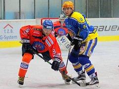 Hodonínští hokejisté prohráli na ledě sousední Břeclavi 3:4 po prodloužení a v druholigové tabulce klesli za Porubu na páté místo.